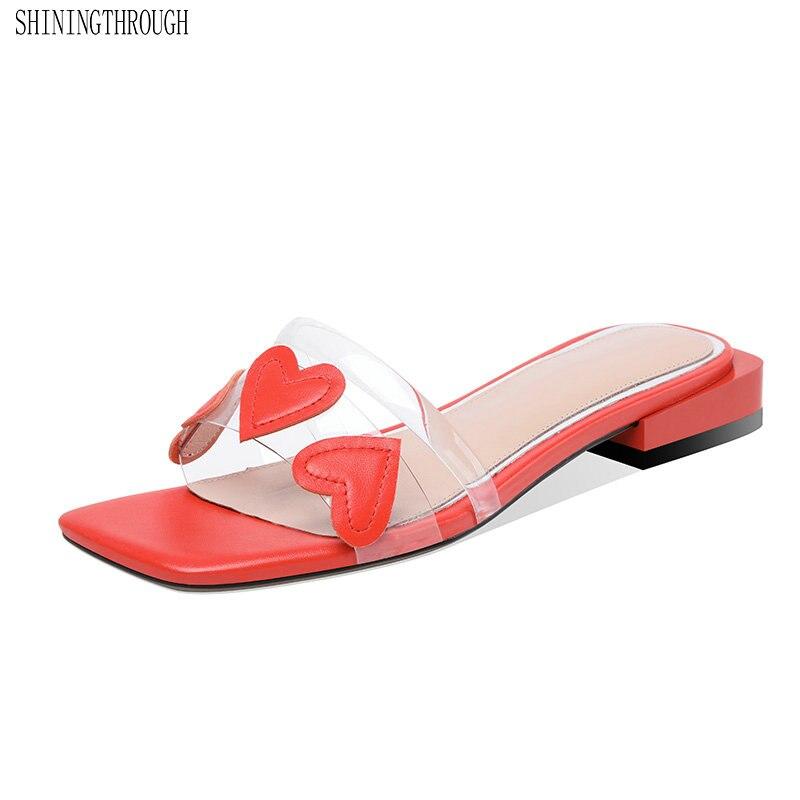 100% Kuh Leder Low Heels Frauen Hausschuhe Süße Liebe Frauen Sandale Casual Schuhe Frau Concise Party Hochzeit Schuhe AusgewäHltes Material