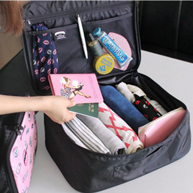 Portable Women Travel Bag Packing Cubes Cartoon Luggage Storage Bag Boarding Bag Large Capacity Organizer Handbag Trolley