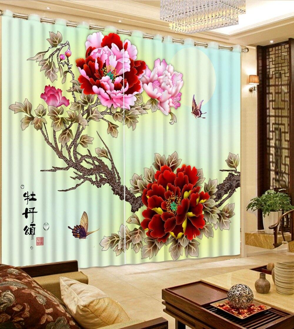 Style européen rideau de fenêtre salon fleurs papillon lune maison fenêtre rideaux 3d rideaux pour cuisine