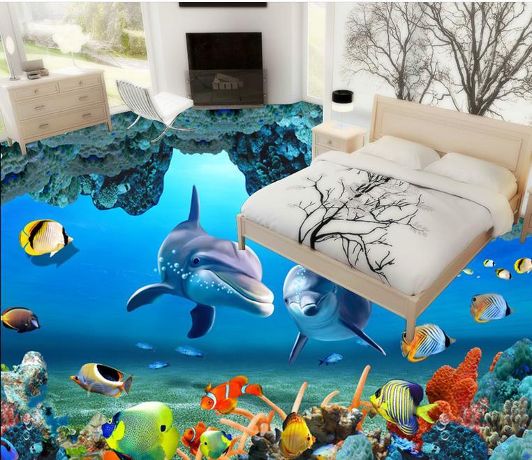 Us 53 99 10 Off 3d Boden Bad Fliesen Aufkleber Wasserdicht Meer Welt Mural Dolphin Tapete 3d Bodenfliesen Unterwasser Tapetenwandbilder In 3d Boden