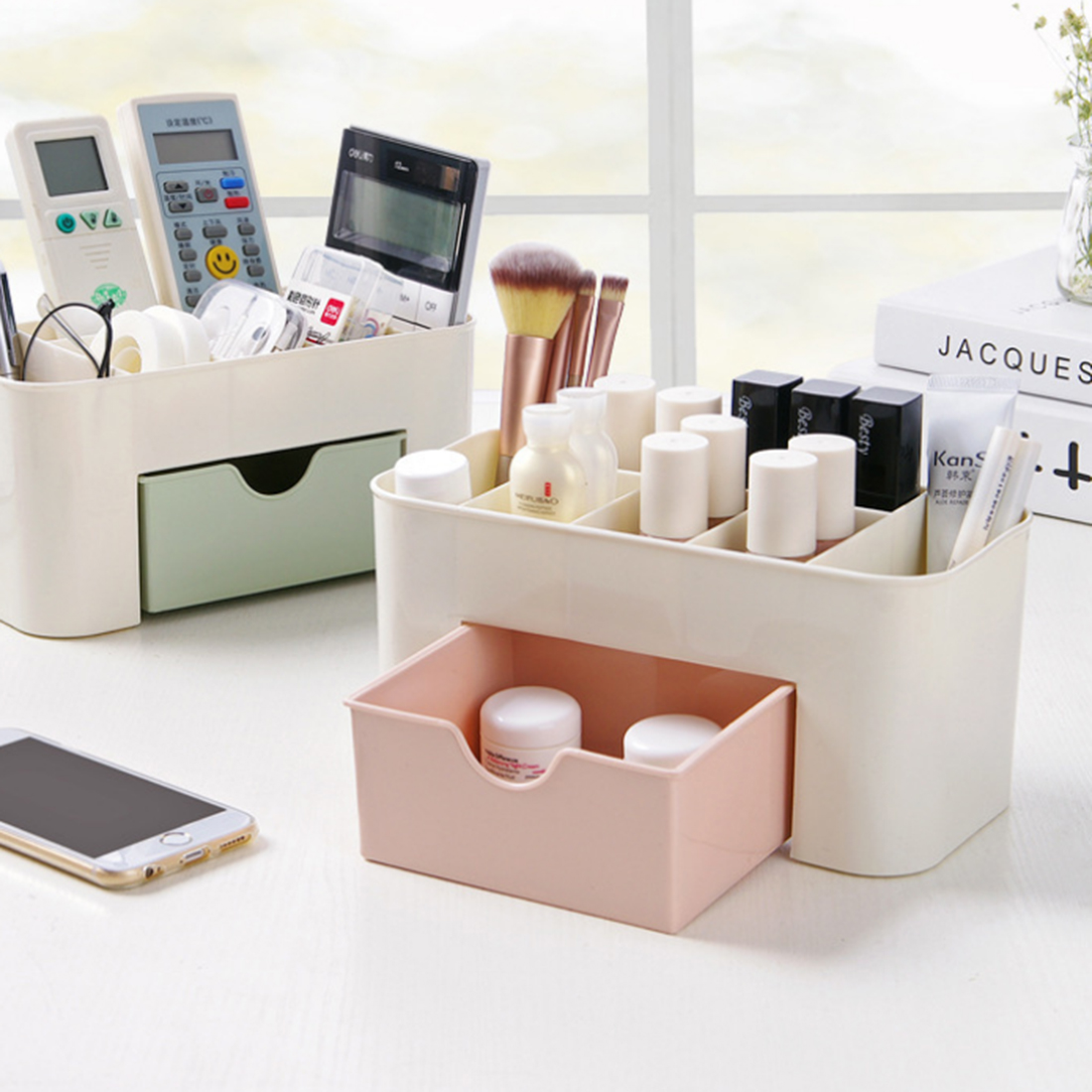 HIPSTEEN Plain Color Plastic Desktop Cosmetic Container Household Storage Box Multi-function Jewel Case with Drawer
