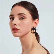 CRLEY New Classic Acrylic Stud Earrings Round Geometric Statement Vintage Punk Tortoiseshell Acetate Brincos