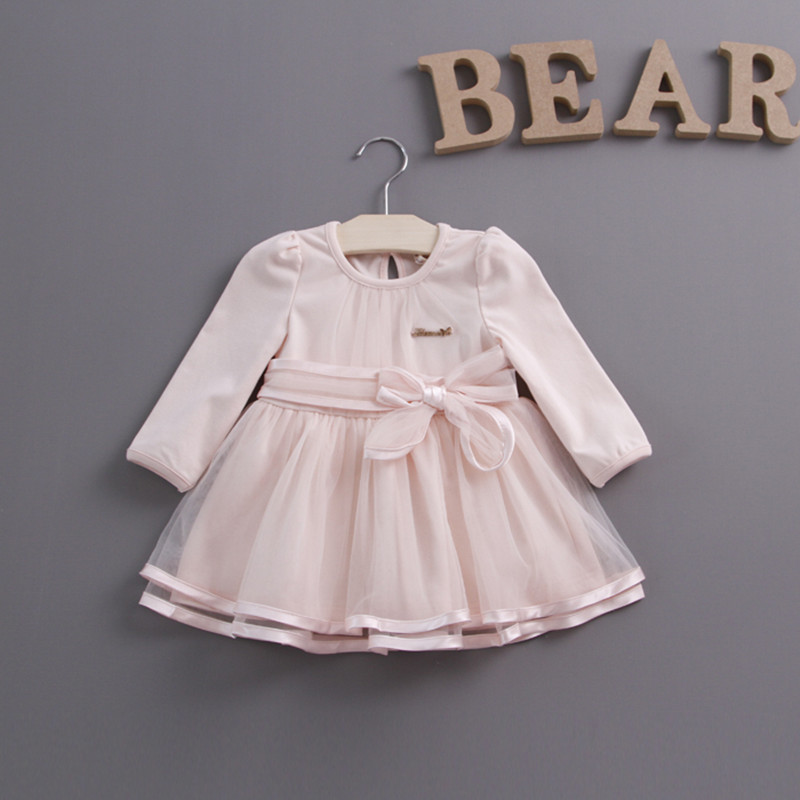 Retail spring bow lace dress baby girls cute baby infant lace dress ball gown girl sundress princess dress 3 color