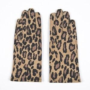 Image 3 - Gours automne et hiver femmes gants en cuir véritable mode nouvelle marque chèvre moufles décontracté conduite imprimé léopard GSL004
