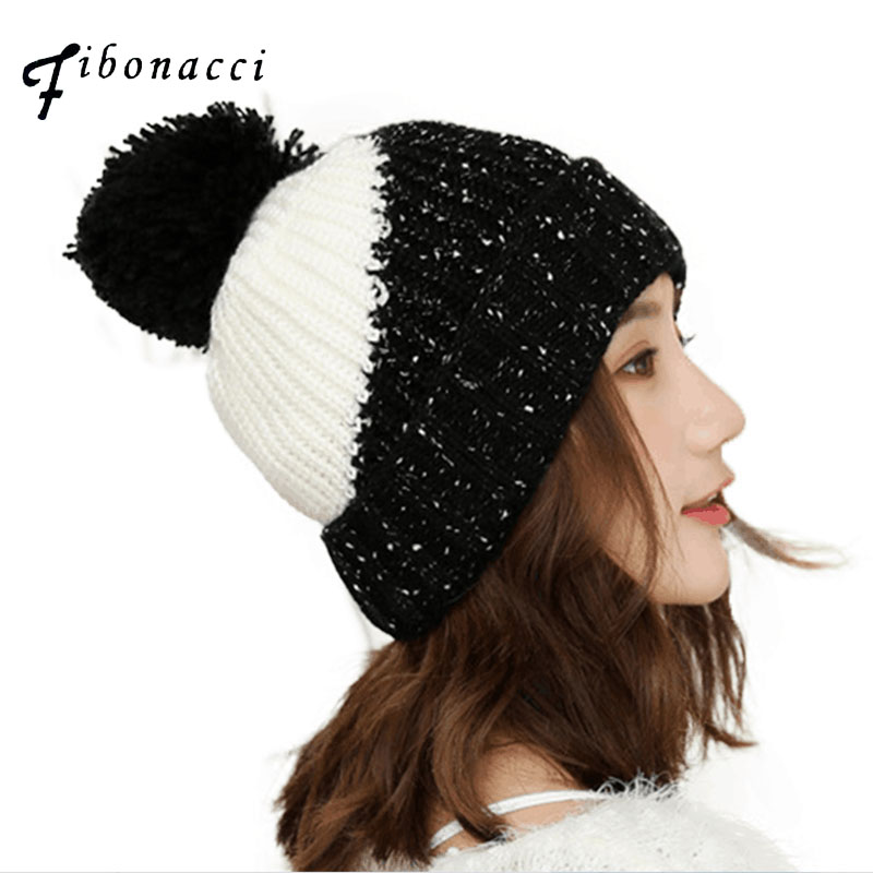 Fibonacci Mixed Color Patchwork Knitted Hat Female Warm Thick Autumn Winter Knit Hats Women's Beanies Girl Youth Cap bingyuanhaoxuan2017 warm patchwork hats casual female autumn winter hats handmade coarse knitted hat for women beanies candy cap