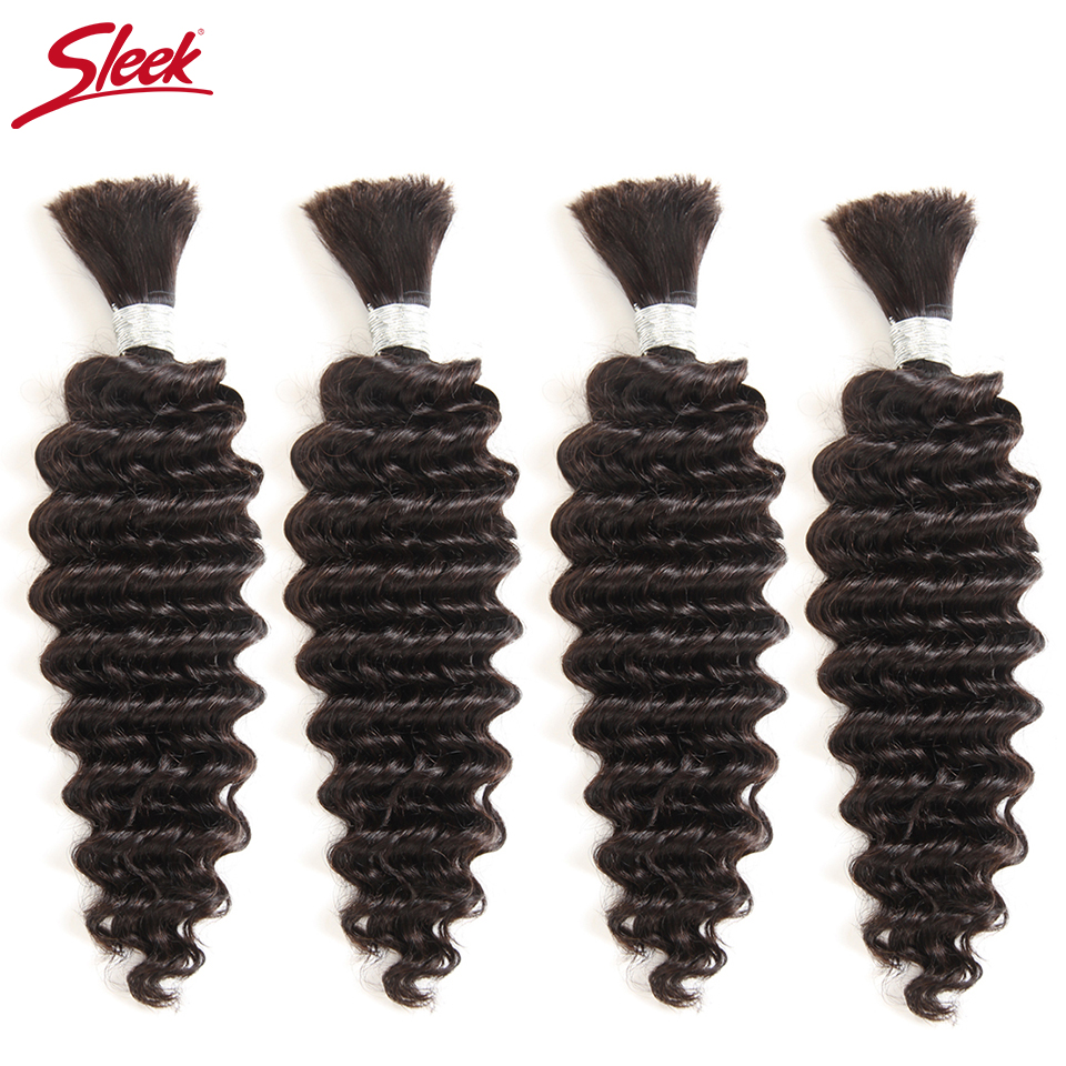 Sleek Hair 10 To 30 Inch Brazilian Bulk Deep Wave Human Hair Extention Natural Color 4 Bundles Deal Remy Human Crochet Hair