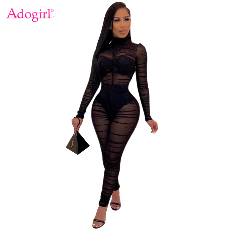 Adogirl Women Sexy Black Sheer Mesh Ruched Jumpsuit High Neck Long Sleeve Slim Romper Night Club Overalls Fashion Bodysuits