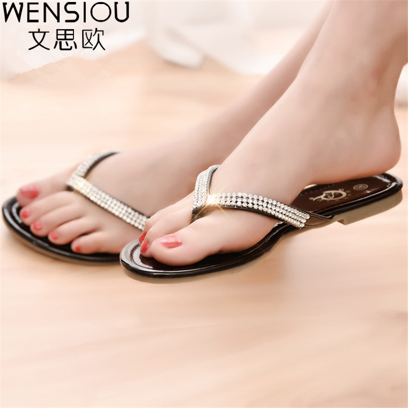 Hot sale women sandals flip flop ladies shoes fashion rhinestone sandals shoes gladiator ladies sandals women DT194 anmairon shallow leisure striped sandals women flats shoes new big size34 43 pu free shipping fashion hot sale platform sandals