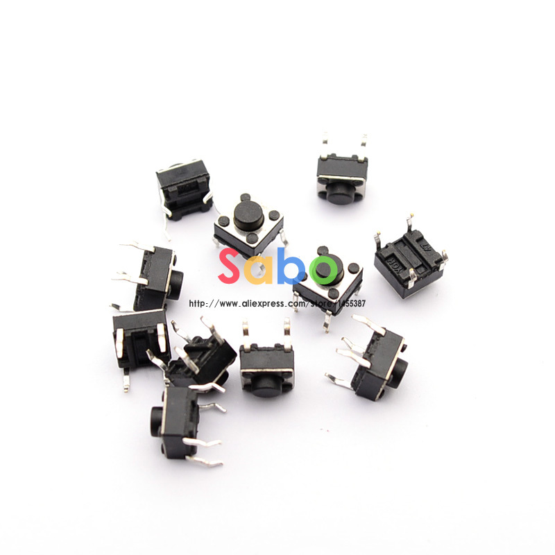 100pcs Tactile Push Button Switch Momentary Tact 6x6x5mm DIP Through-Hole 4pin ...