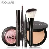 FOCALLURE 6Pcs Pro Eye Makeup Set Cosmetics Blush With The Brush Black Mascara Eyeliner Eye Brow