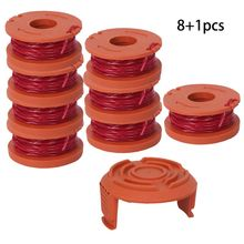 Line String Trimmer Replacement Spool 3M for WORX, 9 Pack (8 Grass Line, 1 Cap)