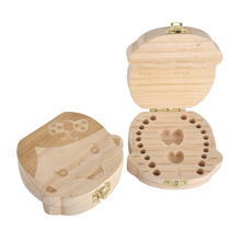 Hot Selling Cute Wood Tooth Box Organizer Spanish English language Wooden Milk Teeth Save Storage Boxes For Baby Kids Boys Girls