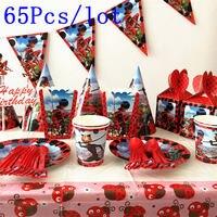 65Pcs Kids Boys Baby Miraculous Ladybug Cartoon Birthday Decorative Party Event Supplies Favor Items For Children