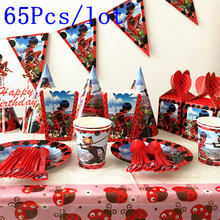 65Pcs/lot Miraculous Ladybug cartoon birthday decoration activity party supplies children and adolescents 10 people suit