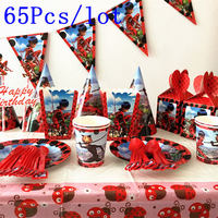 65Pcs Lot Miraculous Ladybug Cartoon Birthday Decoration Activity Party Supplies Children And Adolescents 10 People Suit