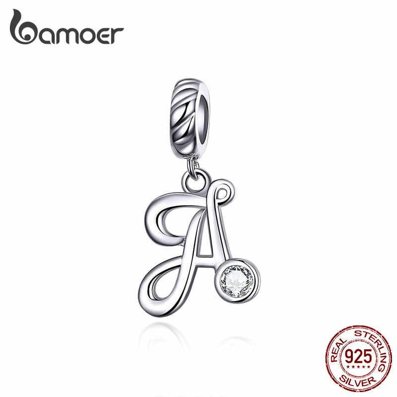 Bamoer 26 letras alfabeto pingente 925 prata esterlina handwriting língua pingentes charme para pulseiras e colar scc1183