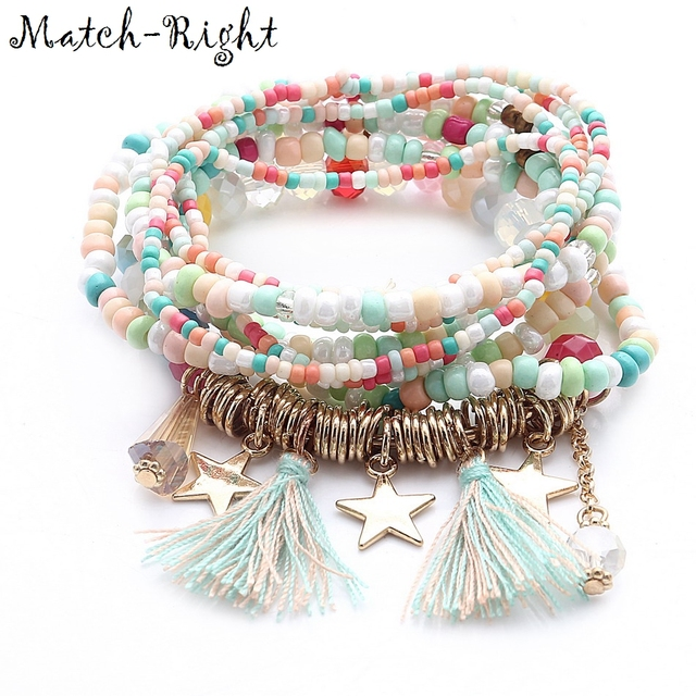 Match-Right Women Bohemia Jewelry of Multilayer Elastic Weave Set Bracelets & Bangles with Tassel Charm Wrap Bracelet LG-075