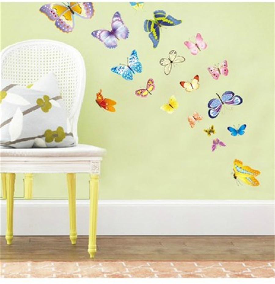 3pcs DIY Home Decor Wall Sticker Multicolor Butterfly Wall Stickers ...