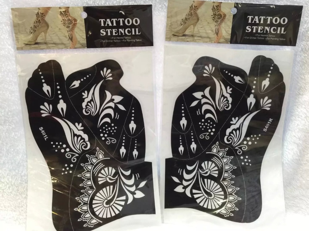 2ks Nově dorazil Dočasné opětovné použití Tattoo vzorníku Henna Tatoo Vložit šablonu Nohy malířství umění pro levou a pravou nohu