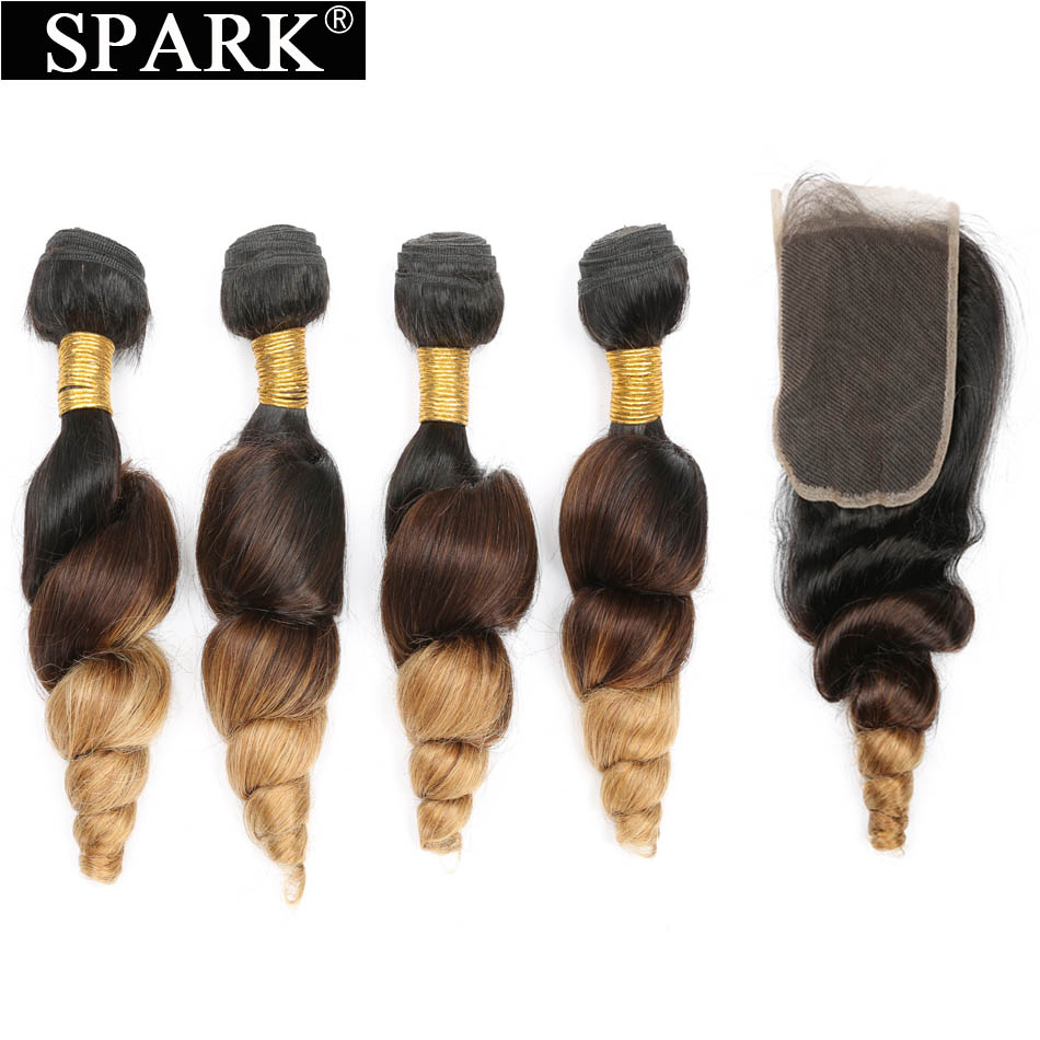 Indian Loose Wave Bundle With Closure Spark Remy Hair Extensions Bundles Ombre Blond Wavy 3/4 Bundles With Lace Closure 1B/4/27