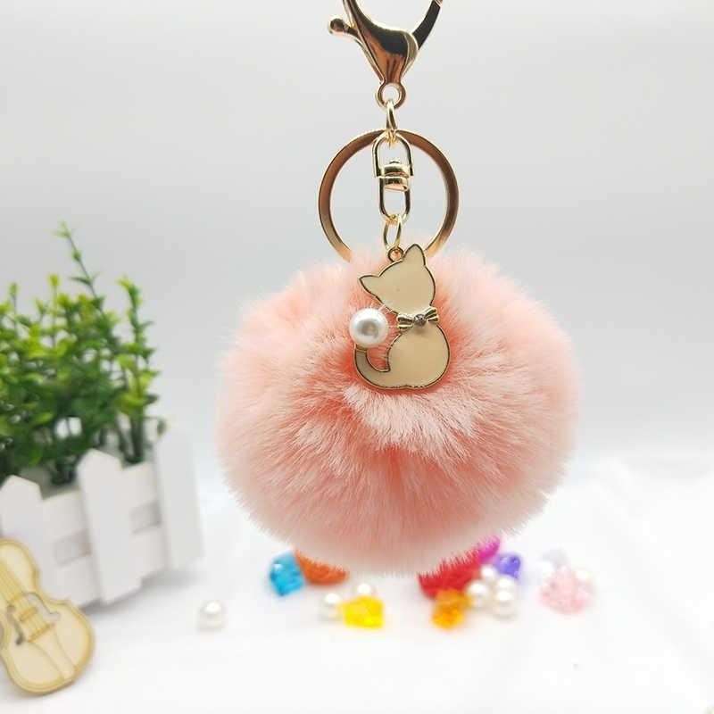 25 cores Rosa Bonito Do Gato Chaveiro Pele Pompom Bola De Pêlo Falso Chaveiro Pompom Fofo Saco Encantos Chaveiro Chave Anel llaveros Chaveiros