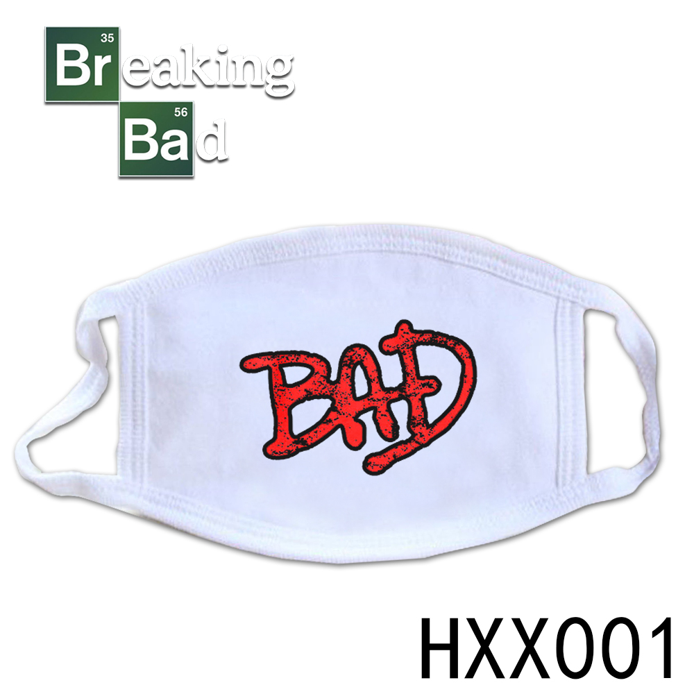Giancomics America TV Breaking Bad Half-Face Varied Cartoon Pattern Mouth-muffle Cotton Washable Trendy Mask Respirator Decor