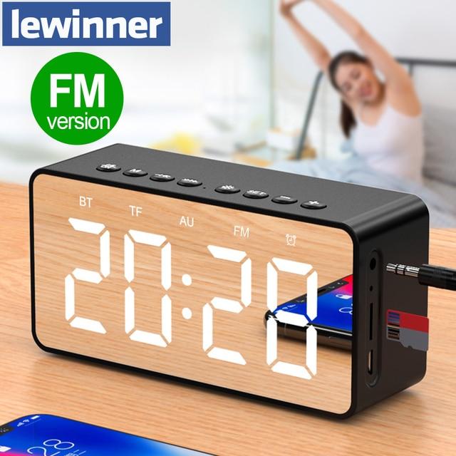 Altavoz Bluetooth portátil Lewinner altavoces estéreo inalámbricos súper bajos soporte TF espejo auxiliar reloj despertador para ordenador de teléfono
