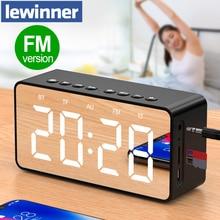 Lewinnerポータブルbluetoothスピーカースーパー低音ワイヤレスステレオスピーカーサポートtf auxミラーアラーム時計電話コンピュータ