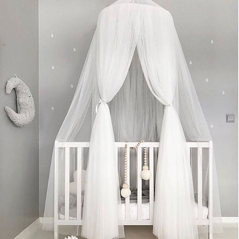 Breathable Palace Style Baby Play Tent Crib Netting Bed Mantle Bedding Nets Dome Tent Kids Room Decor Infant Room Bed Curtain nordic white lace girls princess dome canopy bed curtains round kids play tent room decoration baby bed hanging crib netting