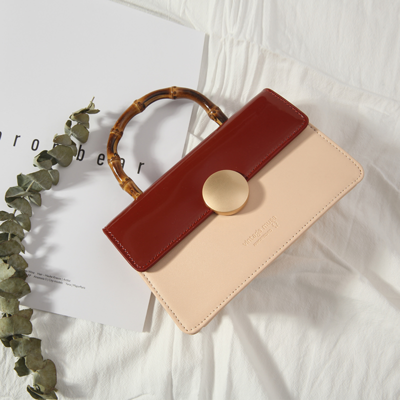 Vintage cowhide trumpet 2018 summer trapezium square bag handbag, slub shoulder shoulder bag, retro Bag Girl