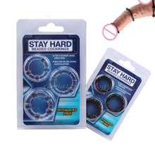 camaTech 3Pcs Silicone Beaded Penis Rings Delaying Ejaculation Cock Rings Lock Ejaculation Constriction Donuts Sex Rings For Men cheap MA113 Clear or Black S M L Penis Dildo Dick Cock 31mm 33mm 36cm Discreet Package Soft Stretchable