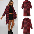 Hot Sale Women Blouses Casual Plaid Cotton Blouse OL Blouses Women Long Plaid Shirt Long Sleeve Plus Size Women Clothing 41