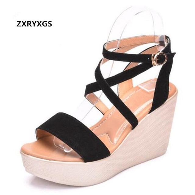 9525ad4c3fc6 Open Toe Women Summer Sandals Platform Wedges Sandals 2019 New Matter  Leather Shoes High Heeled Sandals Women Shoes Plus Size