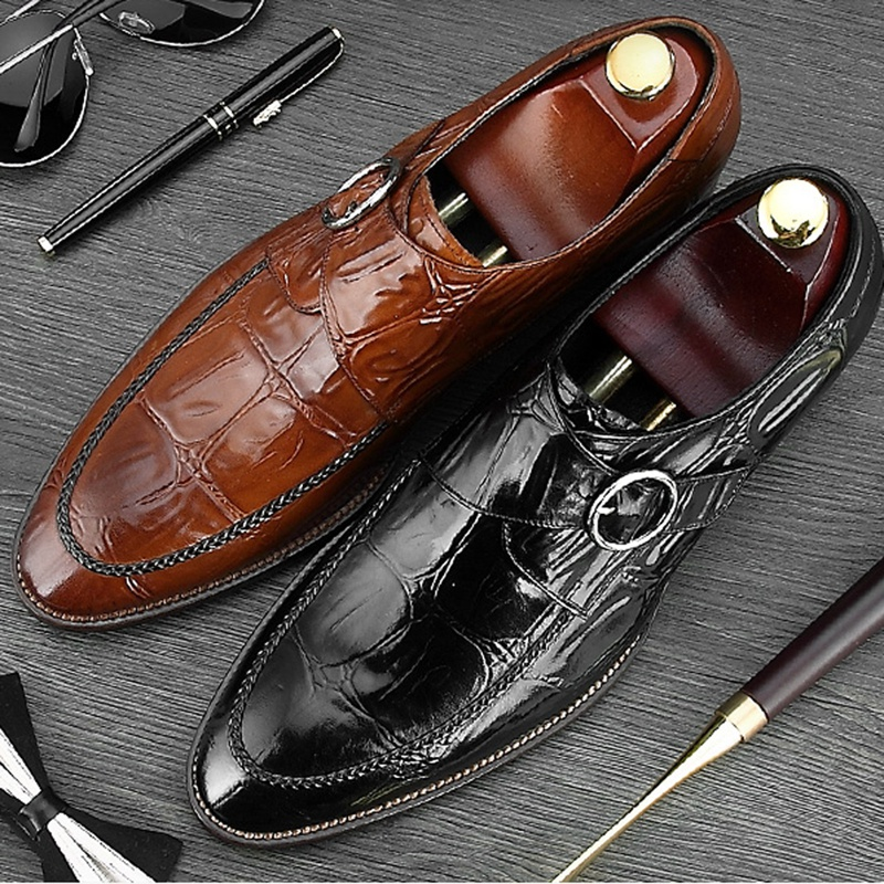 Italian Pointed Toe Man Formal Dress Monk Shoes Luxury Genuine Leather Handmade Buckle Strap Men's Wedding Party Footwear NE19 luxury snake pattern patent leather men s monk strap formal dress footwear round toe handmade male casual shoes for man ymx411
