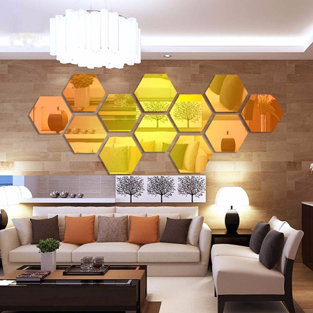 6Pcs/Set Hexagon 3D Acrylic Mirror Wall Stickers Waterproof Home ...