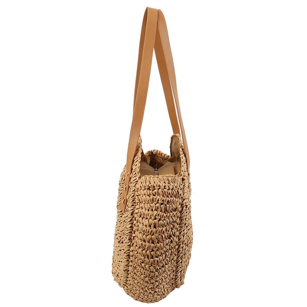 Sacos de Praia De Palha rodada para as mulheres 2019 Do Vintage Tecido bolsa de Ombro Bolsa De Vime Rattan Boêmio Verão Bolso Mimbre