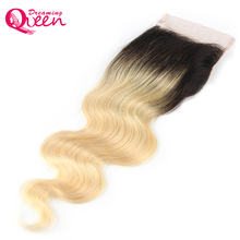Dreaming Queen Hair 1B/613 Body Wave 4×4 Lace Closure Ombre Brazilian 100 Human Hair No Remy Hair Closure with Baby Hair
