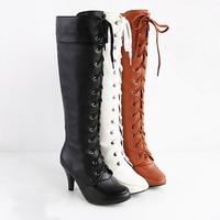 New 2014 Knee High Boots 8cm High Heel Boots Women Motorcycle Boots