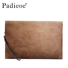 Padieoe 2017 Luxury Vintage Men Clutch Bags Durable Genuine Cowhide Leather Wallets Casual Phone Bags Coin Purses Brown Handbags