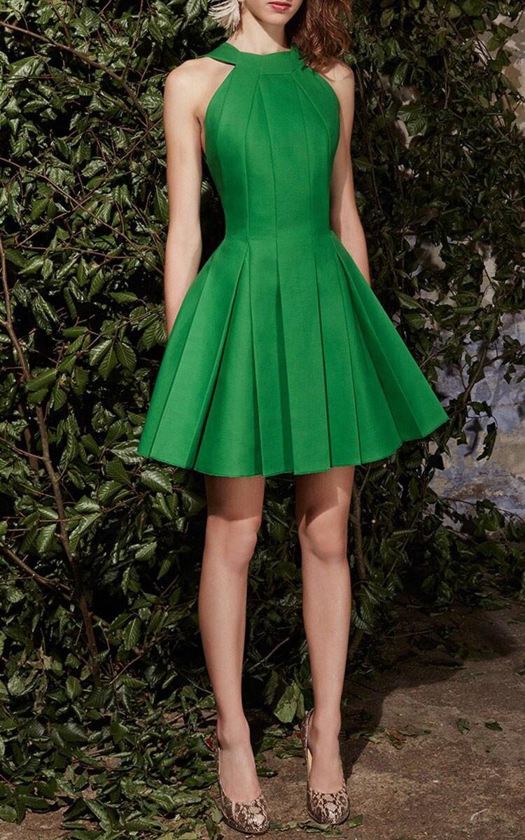 purebliss mini green dress elegant halter party 2017 runway designer high quality formal evening high low sleeveless dress