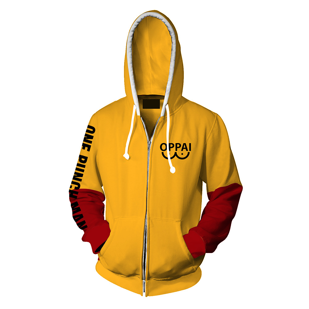Anime One Punch Man Hoodies Oppai Hooded Zipper Sweatshirt Halloween Cosplay Costume For Men Women Spring Winter Warm Sportswear