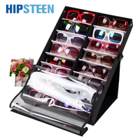 HIPSTEEN 16pcs/18pcs Sunglasses Reading Glasses Show Stand Holder Eyewear Display Stand HolderStorage Box Case Black + White