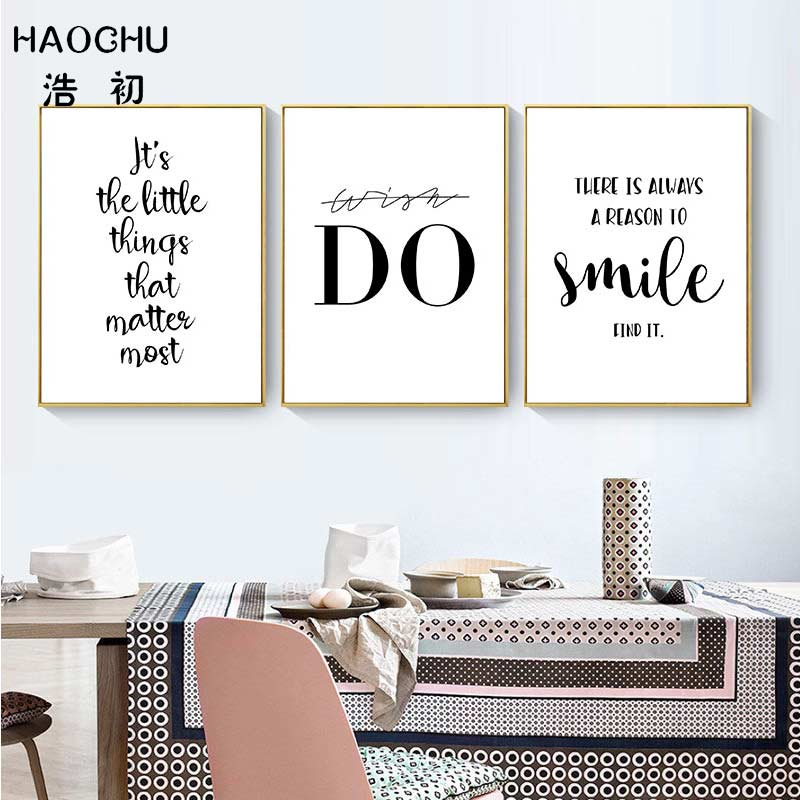 HAOCHU Inspirational Quotes Smile Wish Do Stay Positive Canvas Painting Wall Art Poster Home Decoration for Office Study Room image