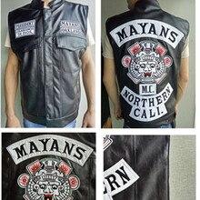 Сыны Анархии Вышивка кожаный жилет косплэй костюм черный цвет Harley мотоцикл в стиле панк Рок без рукавов Майя MC куртка