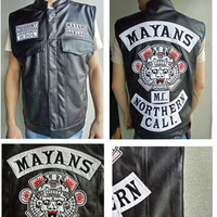 The Sons Of Anarchy Embroidery Leather Vest Cosplay costume Black Color Harley Motorcycle Rock Punk sleeveless Mayans MC Jacket