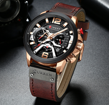 CURREN Mens Watches Top Brand Luxury Leather Sports Watch Men Fashion Chronograph Quartz Man Clock Waterproof Relogio Masculino 2