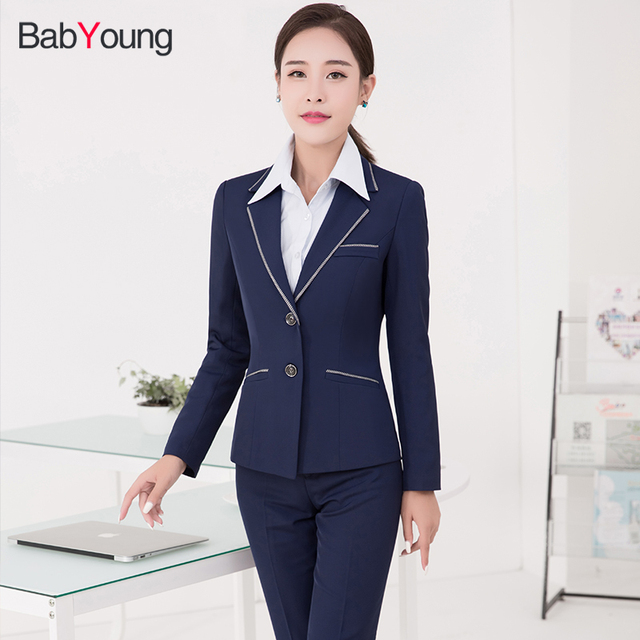 Babyoung Women Blazer Suit Blue Work Wear With Pants S Sets Office Uniform Designs Formal