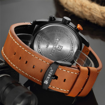 CURREN Men's Luxury Casual Chronograph Waterproof Date Genuine Leather Watches 3