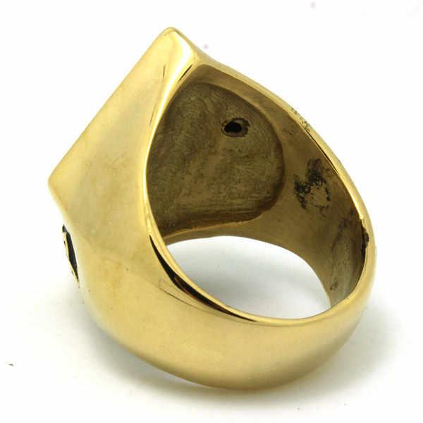 316l الفولاذ الصلب الأسود الذهبي السائق 1% إيه خاتم رجالي الذهبي السائق الدائري