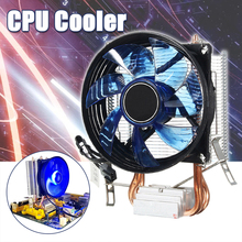 цена на LED CPU Cooler Cooling Fan Heatsink 90mm Double Heatpipe CPU Quiet Cooled Fans For Intel Socket LGA1156/LGA1155/LGA775 AM3 AMD
